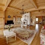 Большая гостиная в деревянном доме с камином