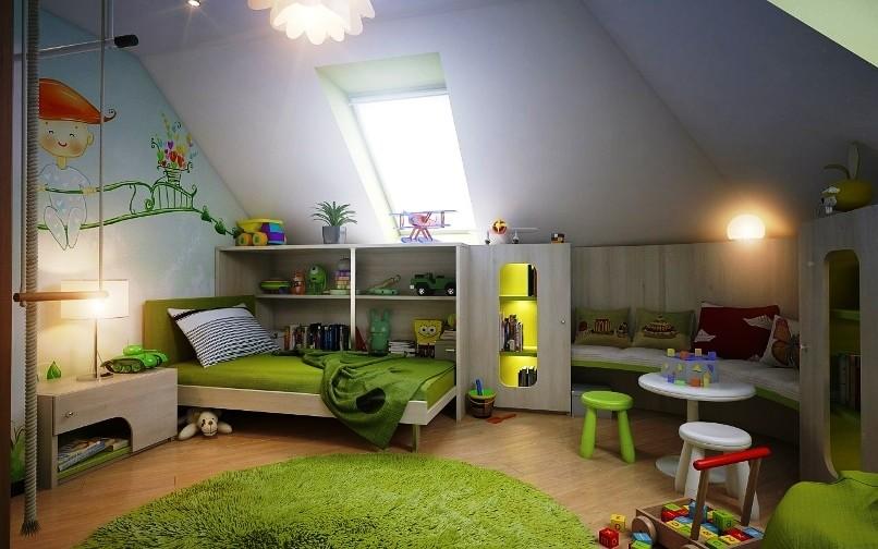 Дизайн детских спален на мансарде
