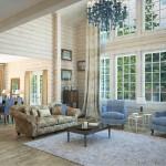 Дизайн большой гостиной со вторым светом
