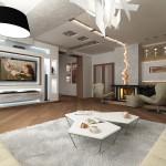 Фото дизайна гостиной в частном доме с камином
