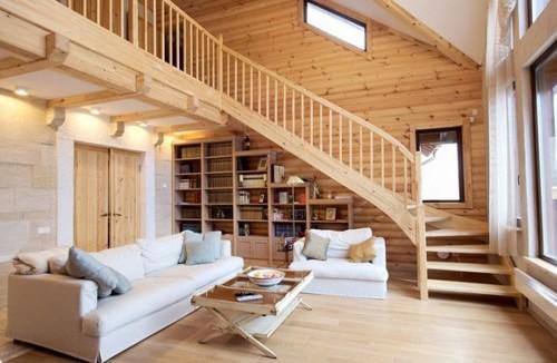 Фото дизайна гостиной в деревянном доме