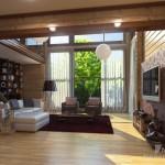 Фото интерьера гостиной со вторым светом в загородном доме