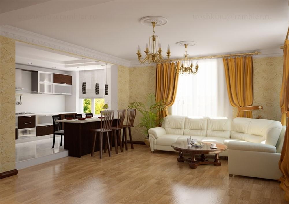 Классический дизайн гостиной в частном доме
