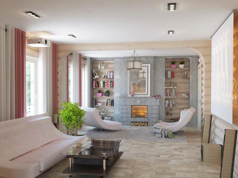Небольшая современная гостиная в частном доме