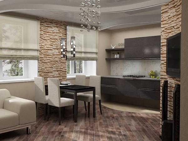 дизайн маленькой кухни-гостиной фото