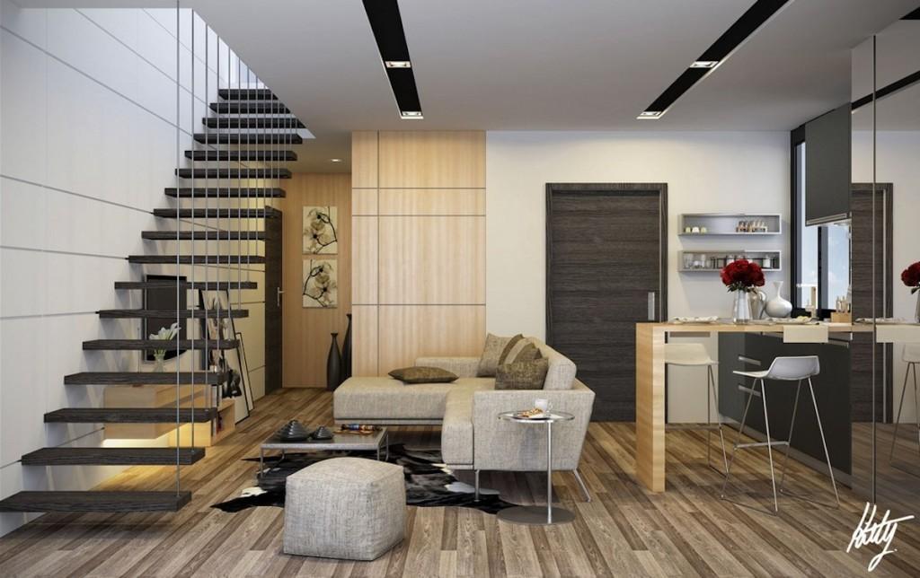 Дизайн прямой лестницы фото 294