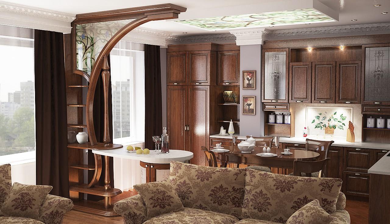фото дизайна кухни-гостиной в классическом стиле