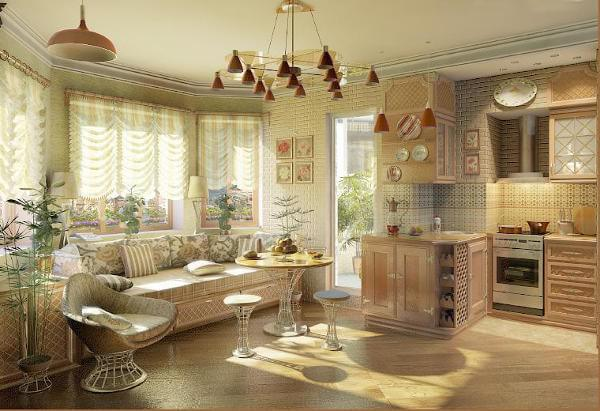 Дизайн гостиной в частном доме с одним