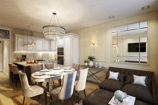 фото стильной кухни-гостиной