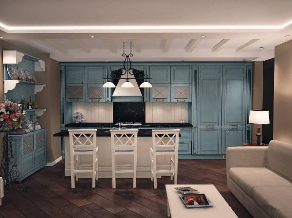 кухня-гостиная в стиле прованс в частном доме