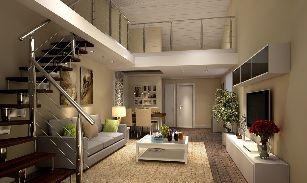 Living room with stairs design