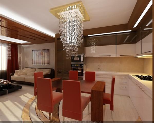 стиль модерн в дизайне кухни-гостиной