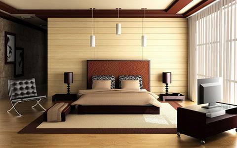 Оформление спальни в загородном доме в стиле модерн