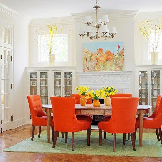 Яркий оранжевый цвет в интерьере