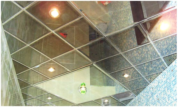 Mirrored ceiling tiles