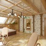 Большая спальня в стиле прованс на пол-мансарды в деревянном доме