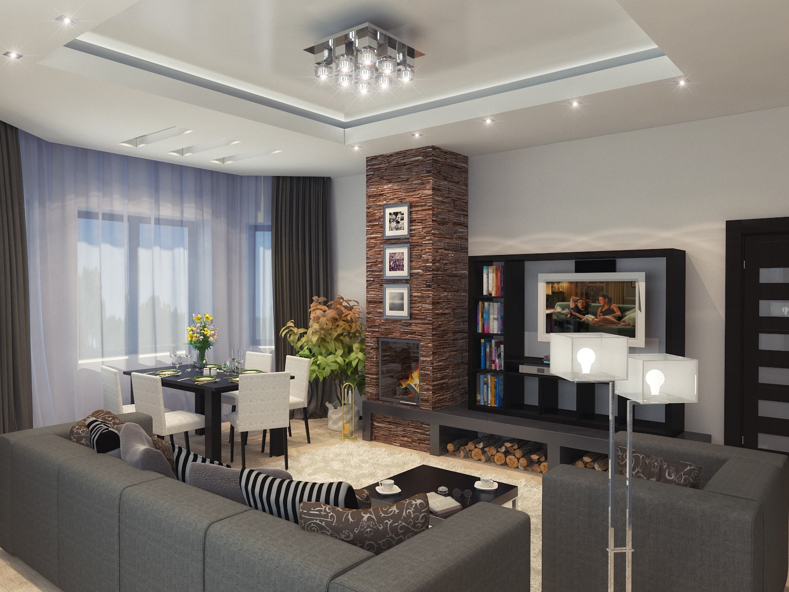 Дизайн интерьера-гостиной в доме