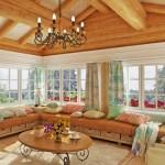 Фото дизайна гостиной в деревянном доме со вторым светом
