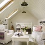 Дизайн гостиной в стиле прованс на мансарде