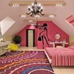 Дизайн комнаты на мансарде для девочки