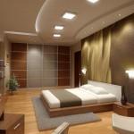 Дизайн потолка в спальне частного дома