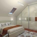 Дизайн спальни на мансарде со шкафом-купе фото