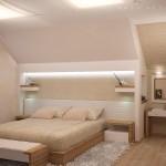 Дизайн спальни на мансарде в частном доме