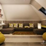 Фото дизайна гостиной на мансардном этаже