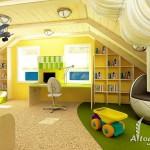 Фото дизайна мансардного этажа, как детской комнаты