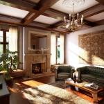 Фото гостиной в стиле нео-классика в загородном доме