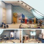 Фото интерьера детской комнаты для мальчика 5 лет на мансардном этаже