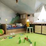 Фото оформления детской комнаты на мансардном этаже