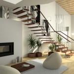 Изящная прямая лестница в гостиную