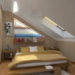 Узкая маленькая спальня на мансарде фото