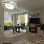 фото кухни-гостиной с камином