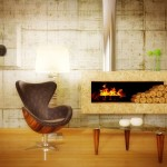 Декор камина в минимализме: немного дров и все