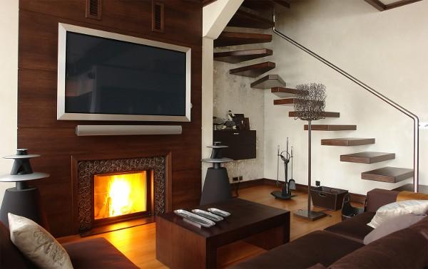 Фото оформления гостиной с камином