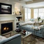 Фото классической гостиной с камином