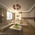 кухня-гостиная с больши диваном в частном доме