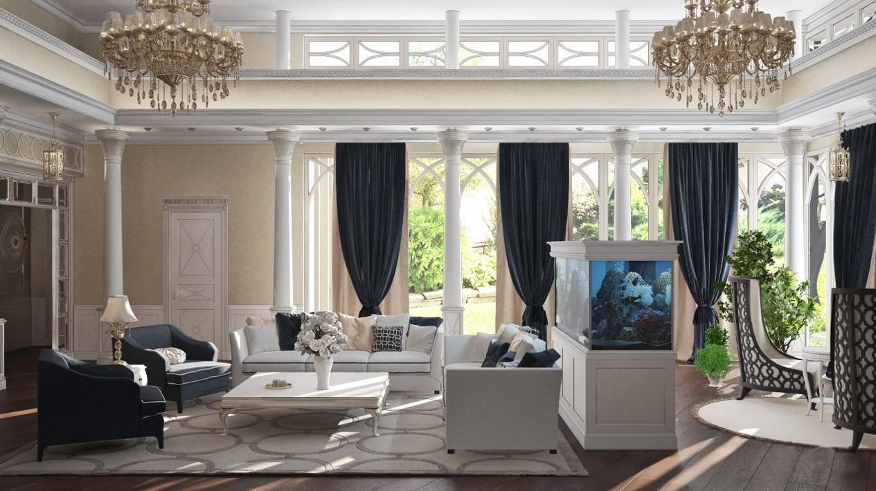 Интерьер каминной зоны в большой гостиной фото с аквариумом