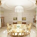 Зона столовой в кухне-гостиной в английском стиле