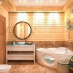 Большая ванная комната с угловой ванной